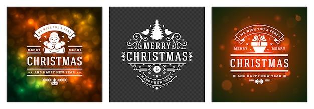 Weihnachtsfoto überlagert vintage typografische, verzierte dekorationssymbole mit winterferienwünschen, blumenverzierungen und schnörkelrahmen. Premium Vektoren