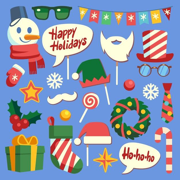 Weihnachtsfotokabine. weihnachtsrequisiten weihnachtsmütze und bart, brille und geschenkbox. gesichtsmaske und elfenhüte, schneemann und schneeflocken neujahr schönes dekorationsset Premium Vektoren