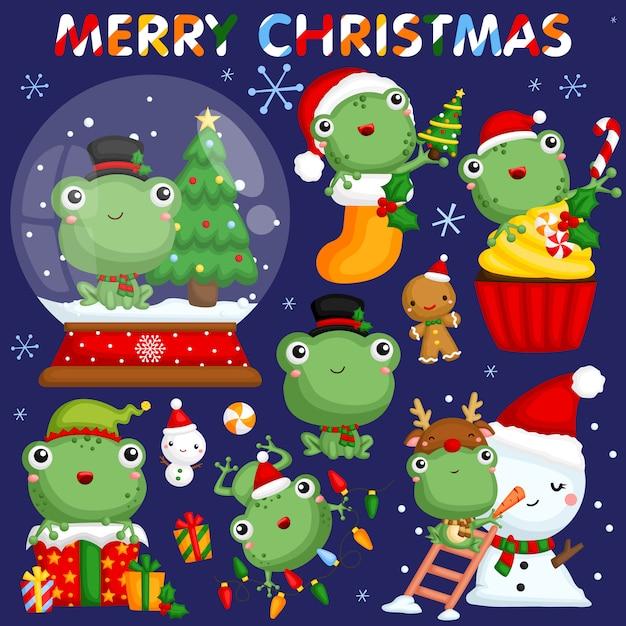 Weihnachtsfrosch-bild-set Premium Vektoren