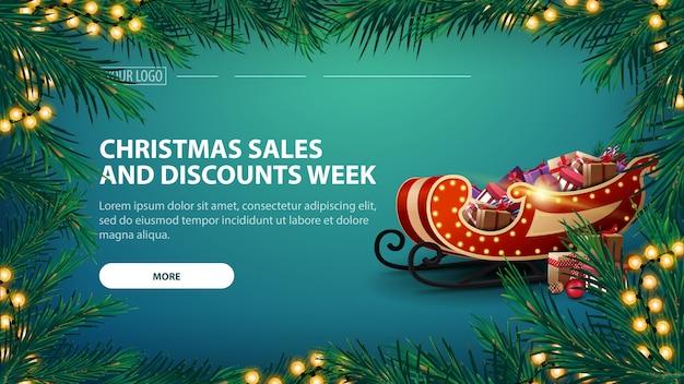 Weihnachtsgeschäfts- und rabattwoche mit grüner fahne und girlande von kiefernniederlassungen Premium Vektoren