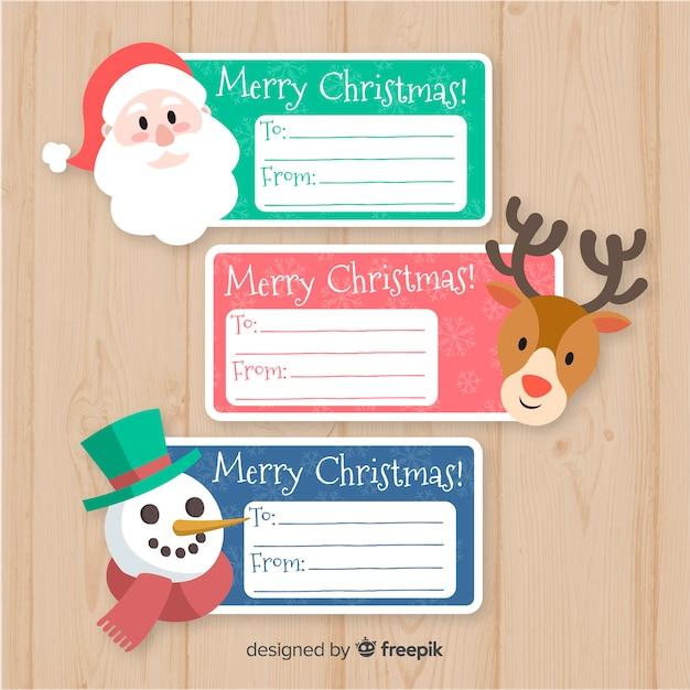 Weihnachtsgeschenk-label-set Kostenlosen Vektoren