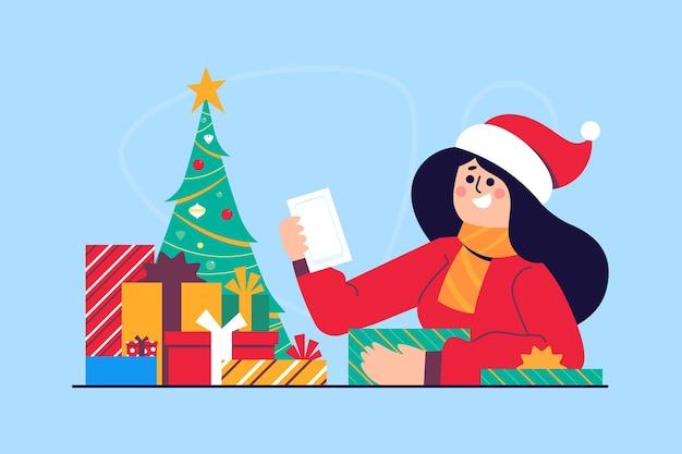 Weihnachtsgeschenk szene illustration Kostenlosen Vektoren