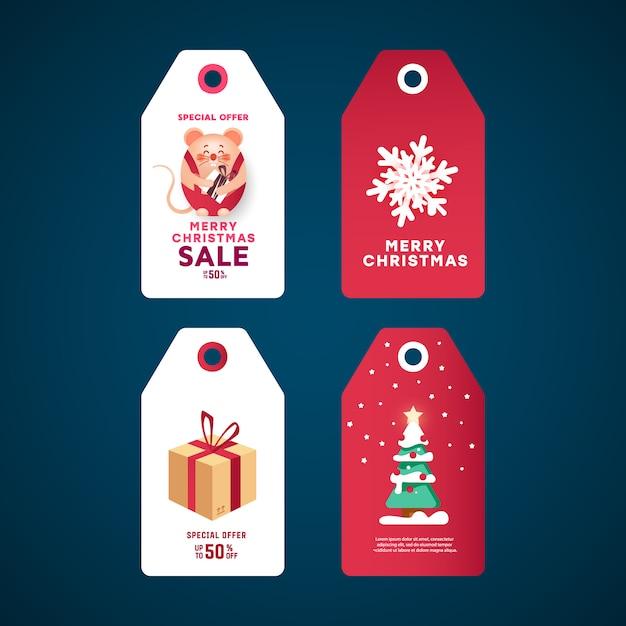 Weihnachtsgeschenk-tags festgelegt. weiße aufkleber mit geschenkbox, gezierter kiefer mit stern und dekor mit bällen, schneeflocke und maus. Premium Vektoren