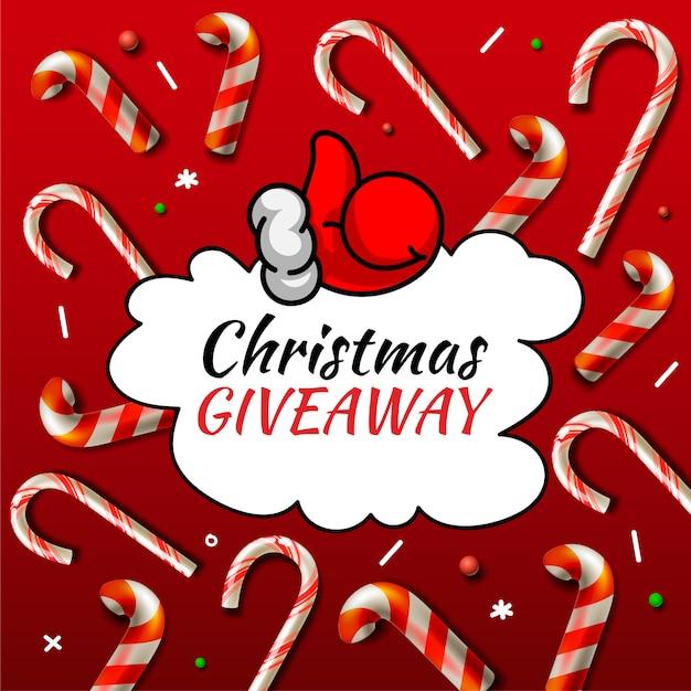 Weihnachtsgeschenk, vorlage mit zuckerstangenmustern für online-feiertagswettbewerb. Premium Vektoren