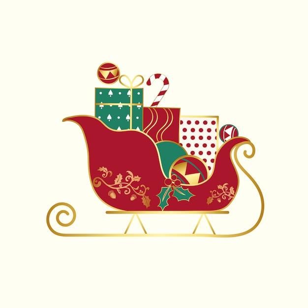 Weihnachtsgeschenke auf einem schlittenvektor Kostenlosen Vektoren