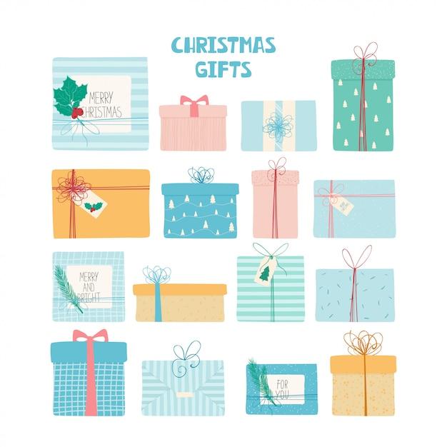 Weihnachtsgeschenke stellten mit bändern, hand gezeichneter beschaffenheit und beschriftung ein Premium Vektoren