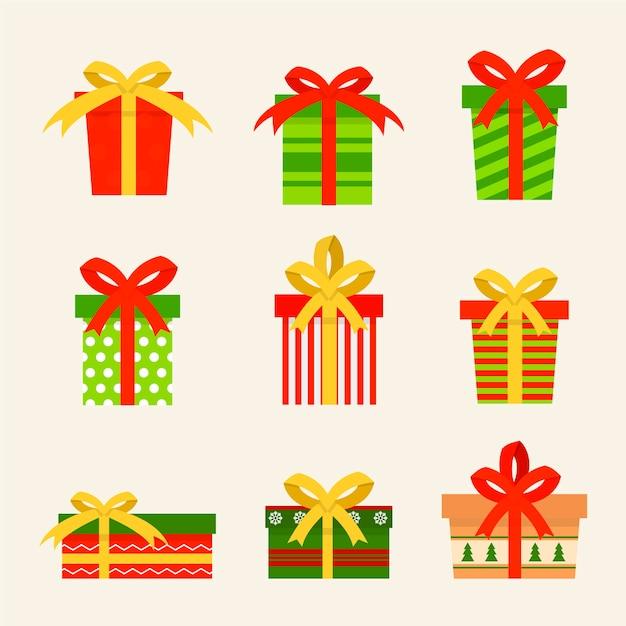 Weihnachtsgeschenksammlung im flachen design Kostenlosen Vektoren