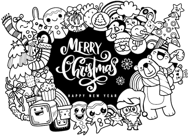 Weihnachtsgestaltungselement in der gekritzelart Premium Vektoren