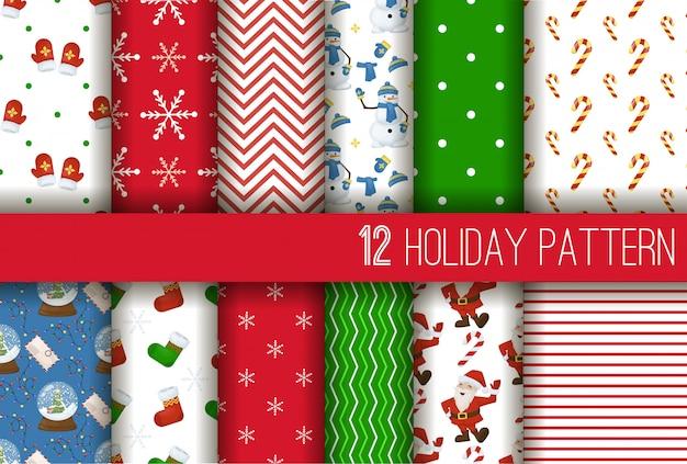 Weihnachtsgestreifte nahtlose musterwinterferiengeschenkverpackungs-stielhintergrundillustration. Premium Vektoren