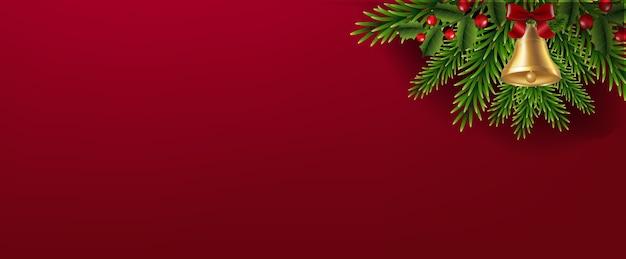 Weihnachtsgirlande mit weihnachtsglockenrotem hintergrund Premium Vektoren