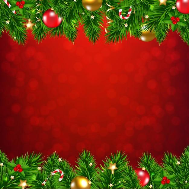 Weihnachtsgirlande mit weihnachtskugeln und dekorationen Premium Vektoren