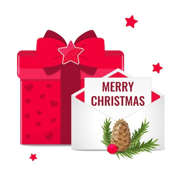 Weihnachtsglückwunschfahne mit geschenkbox und postkarte im umschlag. Premium Vektoren