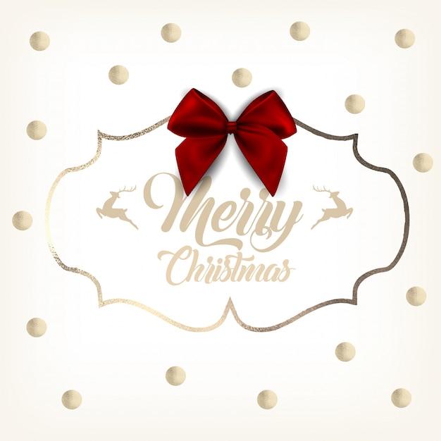 Weihnachtsgoldgrußkarte mit roter schleife Premium Vektoren