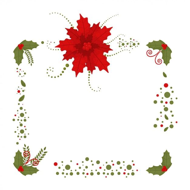 Weihnachtsgrenze mit poinsettia- und stechpalmenbeere verlässt dekorationselement mit lokalisiert auf einem weiß. Premium Vektoren