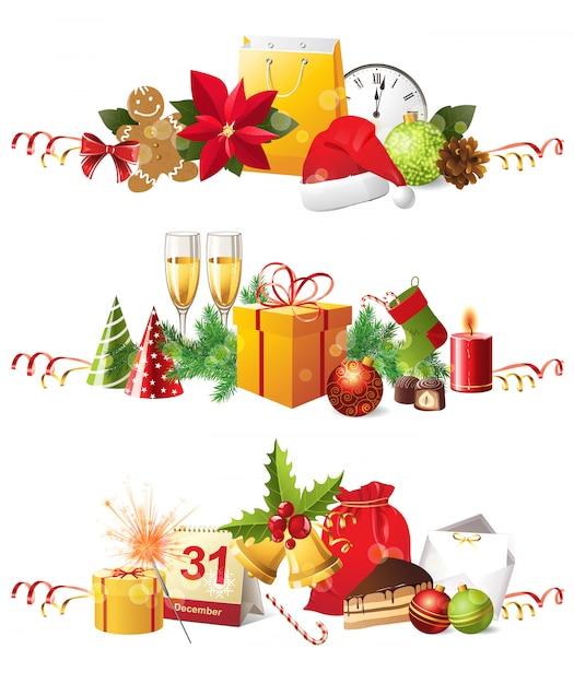 Weihnachtsgrenzen Premium Vektoren