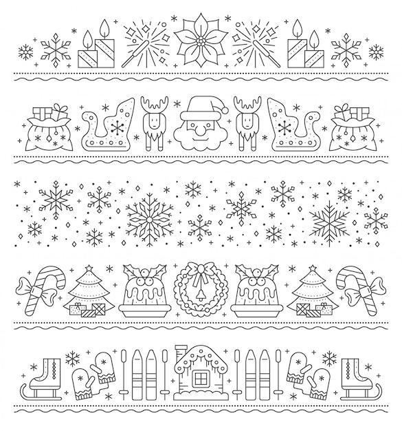 Weihnachtsgrenzlinie ikone, neues jahr, weihnachtsschnur-mustersatz, streifenparteigirlande, karte. Premium Vektoren