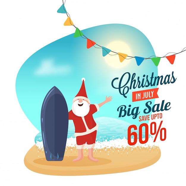 Weihnachtsgroßer verkauf in der juli-fahne, glücklicher santa claus. Premium Vektoren