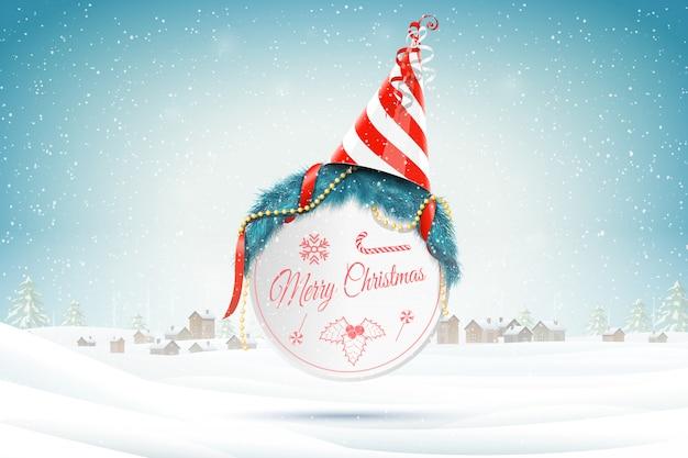 Weihnachtsgrüße auf weihnachtshintergrund Premium Vektoren