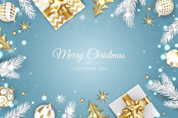 Weihnachtsgrüße. draufsicht geschenkbox, weihnachtsdekoration bälle und geschenkbox Premium Vektoren