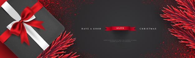 Weihnachtsgruß-bannerillustration Premium Vektoren