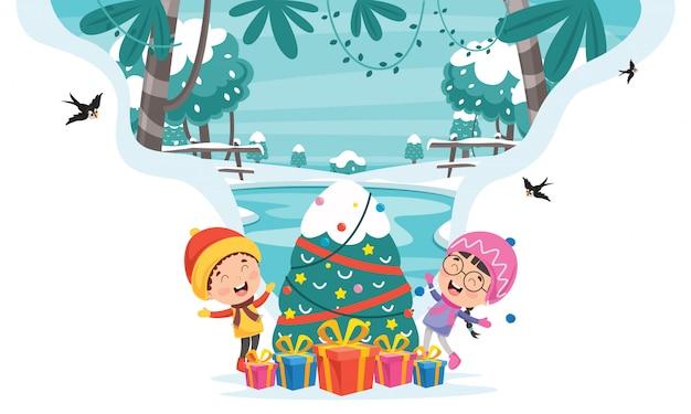 Weihnachtsgruß-karten-design mit zeichentrickfilm-figuren Premium Vektoren