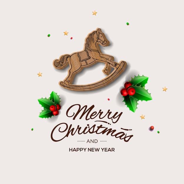 Weihnachtsgrußkarte der minimalistischen art mit rotem hölzernen schaukelpferd, Premium Vektoren