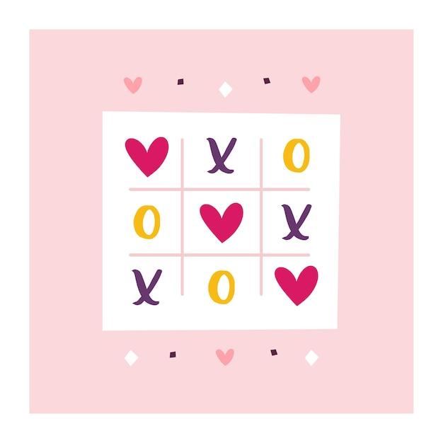 Weihnachtsgrußkarte des heiligen valentinsgrußes. liebe clipart. tic-tac-toe-spiel. Premium Vektoren