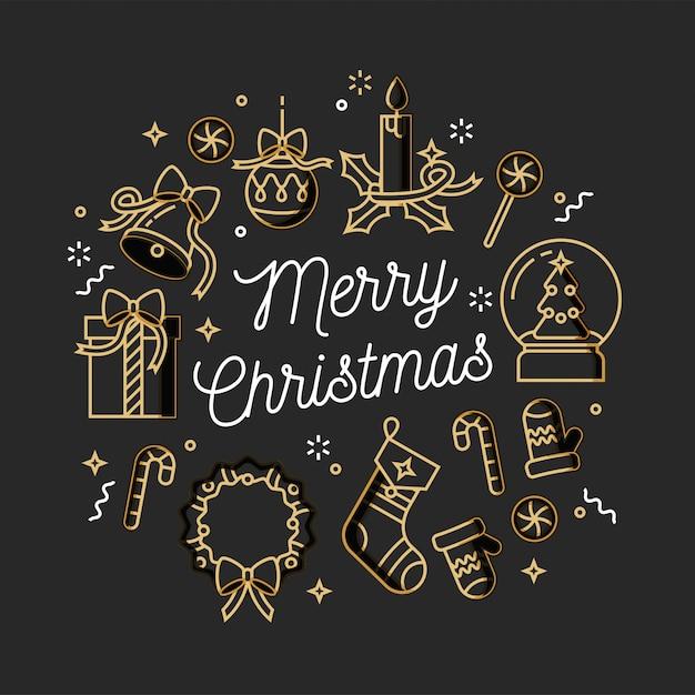 Weihnachtsgrußkarte des linearen entwurfs auf weißem hintergrund. typografie-ang-symbol für weihnachtshintergrund, banner oder poster und andere ausdrucke. Premium Vektoren