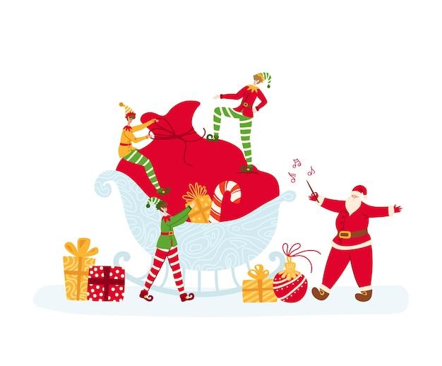 Weihnachtsgrußkarte - kleine elfen packen große geschenktüte, der weihnachtsmann dirigiert und singt Premium Vektoren