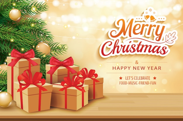 Weihnachtsgrußkarte mit geschenkkästen auf tabelle und baum Premium Vektoren