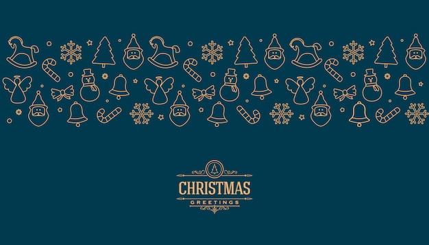 Weihnachtsgrußkarte mit goldlinie elementen Premium Vektoren