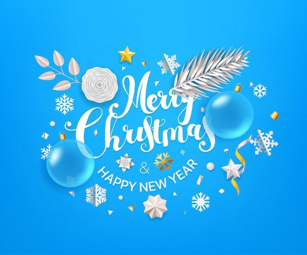 Weihnachtsgrußkarte mit kalligraphischem logo. frohe weihnachten und ein glückliches neues jahr Premium Vektoren