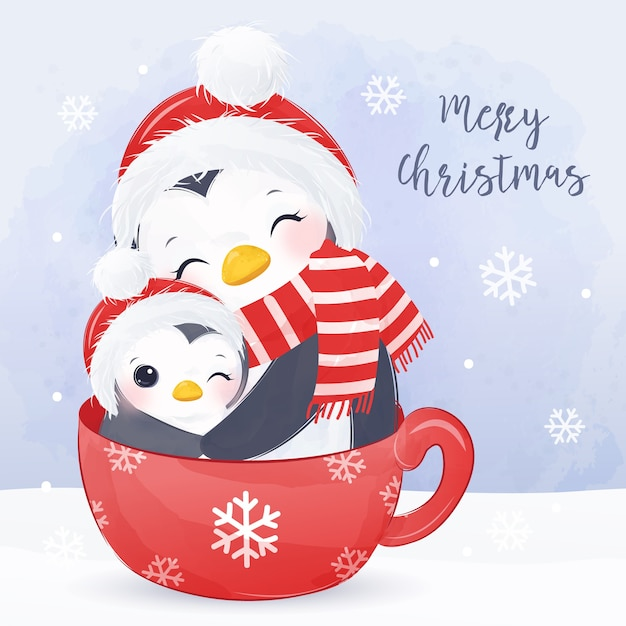 Weihnachtsgrußkarte mit niedlicher mama und babypinguin. weihnachtshintergrundillustration. Premium Vektoren