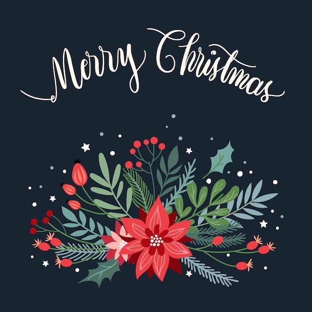 Weihnachtsgrußkarte mit saisonpflanzen und handbeschriftung Premium Vektoren