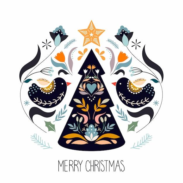 Weihnachtsgrußkarte mit skandinavischen traditionellen elementen Premium Vektoren