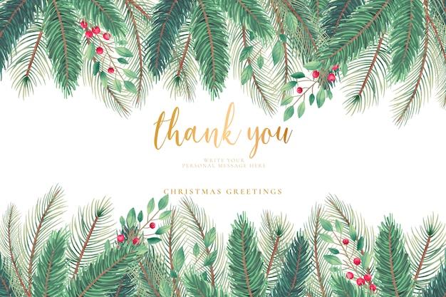 Weihnachtsgrußkarte mit weihnachtsbaumblättern Kostenlosen Vektoren