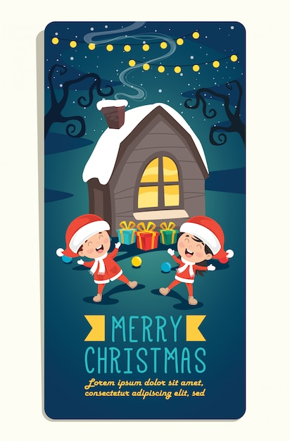 Weihnachtsgrußkarte mit zeichentrickfiguren Premium Vektoren