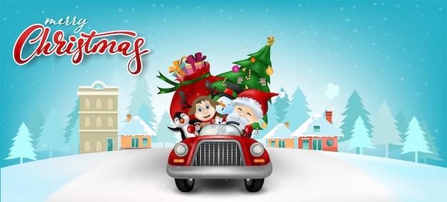 Weihnachtsgrußkarte Premium Vektoren