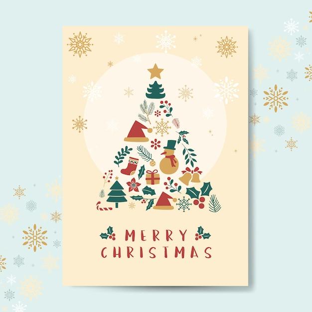 Weihnachtsgrußkarten-modellvektor Kostenlosen Vektoren