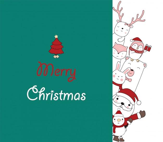 Weihnachtsgrußkartenentwurf. weihnachtsmann mit einem niedlichen tierbaby. hand gezeichnete karikaturart. Premium Vektoren