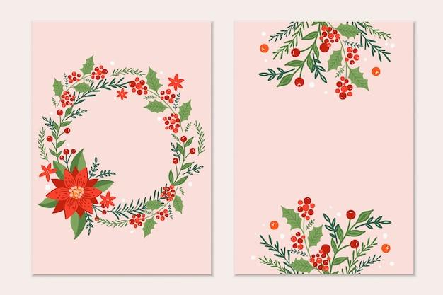 Weihnachtsgrußkartenschablone mit kiefernzweigen, weihnachtssternblumen und roten beeren auf schwarzem hintergrund. urlaubseinladung. Premium Vektoren
