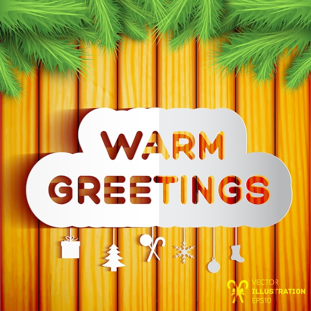 Weihnachtsgrußschablone mit den grünen tannenzweigen des papierdekorationselements auf hölzerner illustration Kostenlosen Vektoren