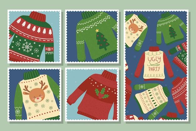 Weihnachtshässliche strickjacken-parteipostkartensammlung Premium Vektoren