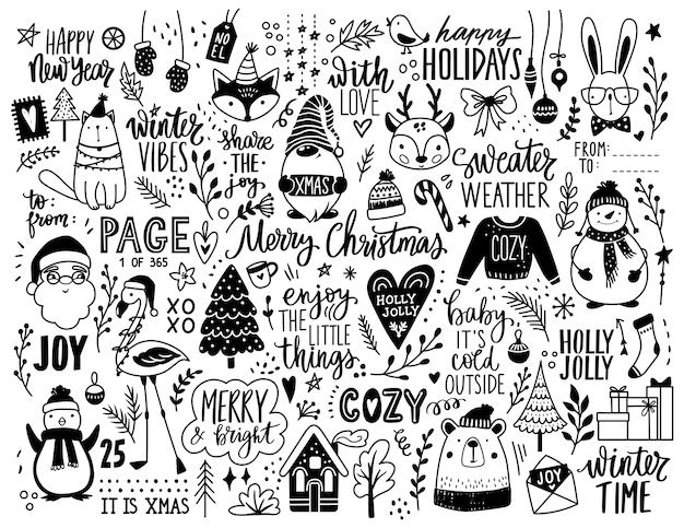 Weihnachtshand gezeichnete gekritzelillustration. Premium Vektoren