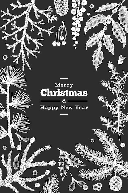 Weihnachtshand gezeichnete grußkartenschablone. weinleseartwinter pflanzt illustration auf kreidebrett Premium Vektoren