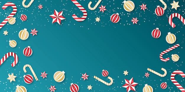 Weihnachtshintergrund. grenze der weihnachtselemente mit kugeln, sternen und zuckerstangen. Premium Vektoren