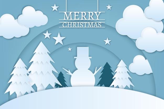 Weihnachtshintergrund im papierstil mit schneemann und kiefern Premium Vektoren