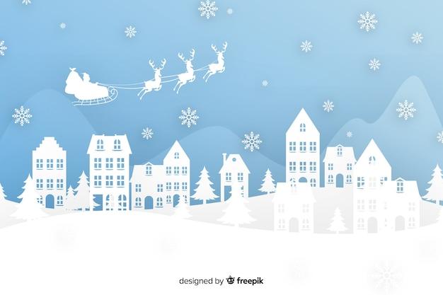 Weihnachtshintergrund in der papierart Kostenlosen Vektoren