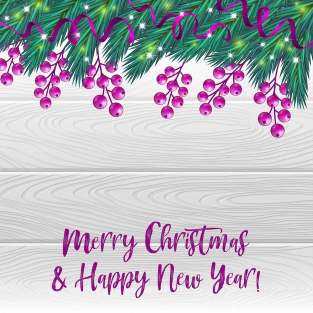 Weihnachtshintergrund mit beeren und tannenbaum Premium Vektoren