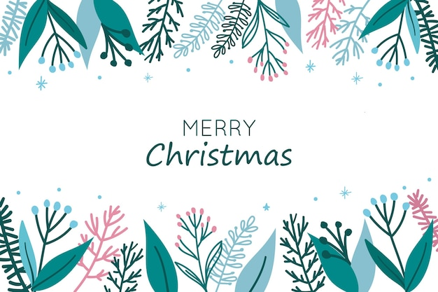 Weihnachtshintergrund mit blättern und blumen oben und unten Kostenlosen Vektoren